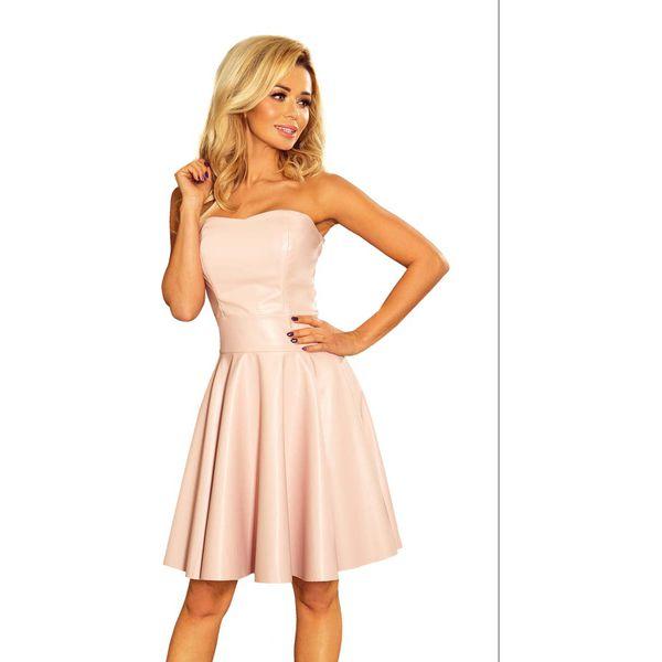 66e3ec122d Jasnoróżowa Sukienka Wieczorowa Gorsetowa z Eco-Skóry - Sukienki ...