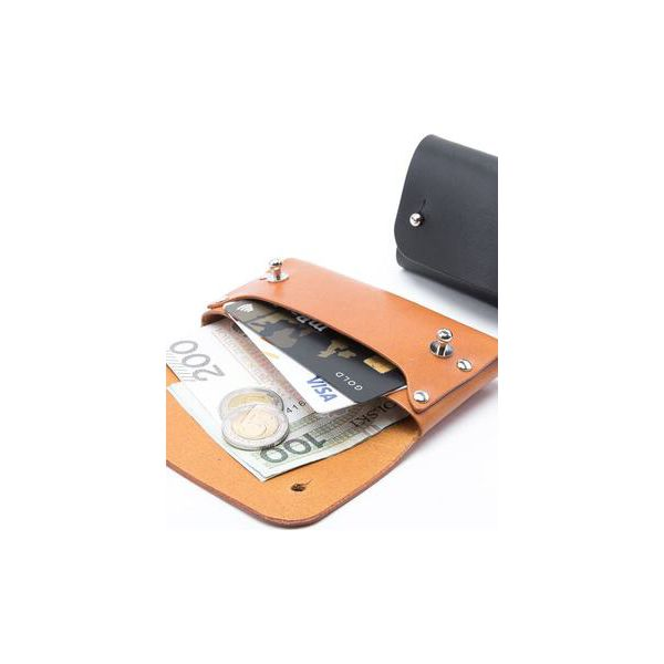 69032d9b10542 Skórzany, mały portfel na karty i monety - knopiki - Portfele ...