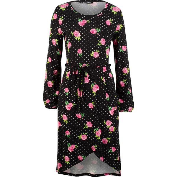 50811abcc9 Sukienka shirtowa w kwiaty bonprix czarny z nadrukiem - Czarne ...