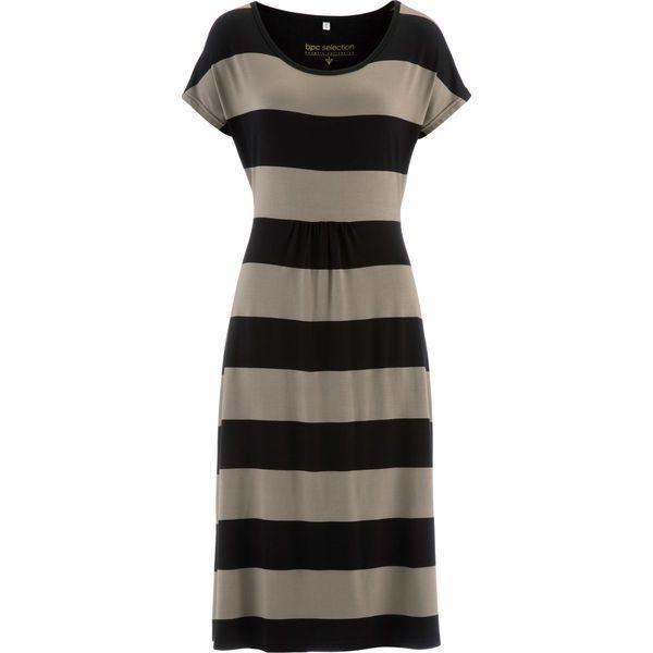 8aa6538590 Sukienka bonprix czarno-brunatny w paski - Sukienki damskie marki ...