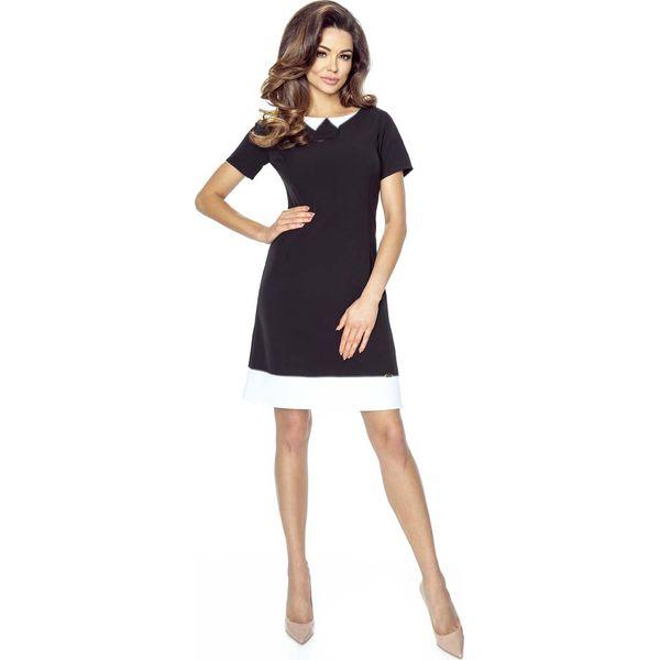 f08f84b030 Czarna Sukienka Trapezowa z Kremowym a la Kołnierzykiem - Czarne sukienki  damskie marki Molly.pl