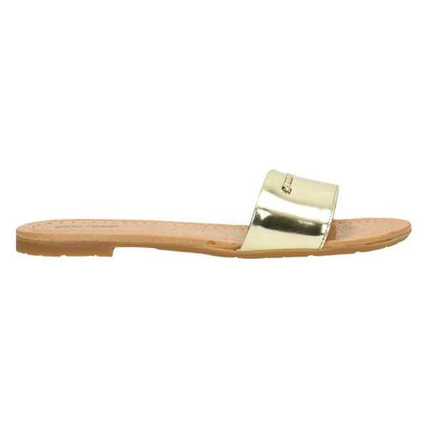 154921b5 Skórzane klapki w kolorze złotym - Żółte klapki damskie Gino Rossi ...