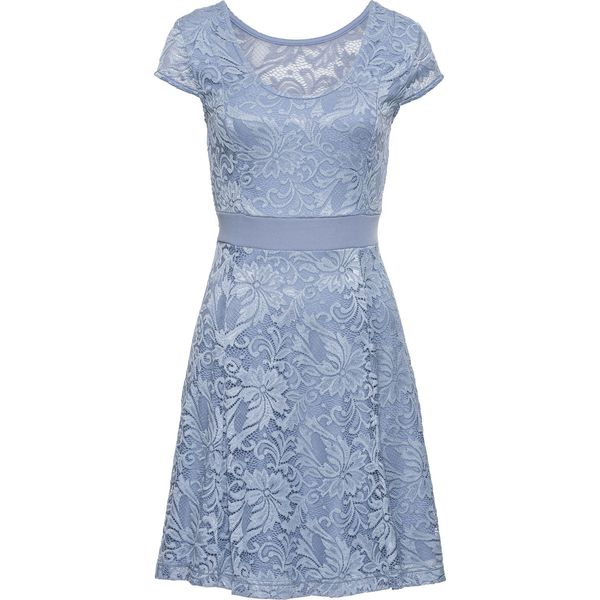 4b9e0ba627 Sukienka z dżerseju z koronką bonprix matowy niebieski - Niebieskie ...