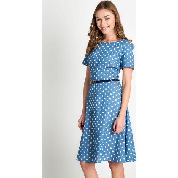 fd67f0fcd6 Błękitna rozkloszowana sukienka w groszki QUIOSQUE - Niebieskie ...