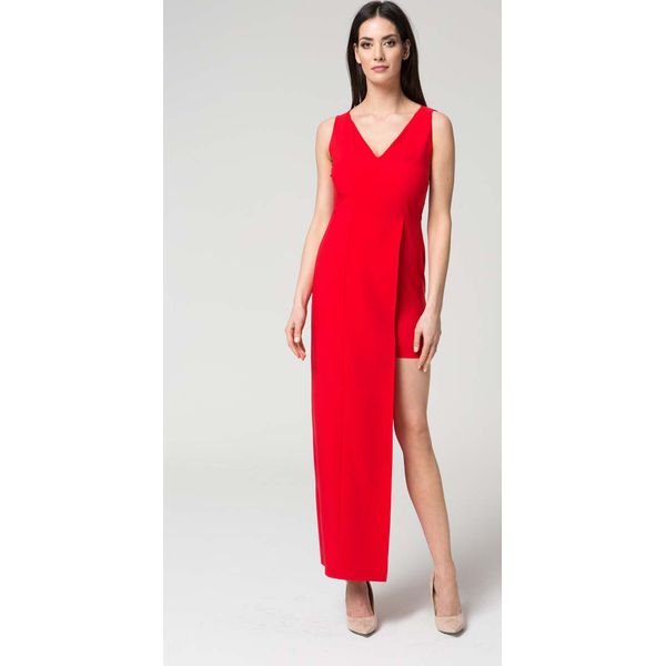 de224f671e Czerwona Wyjściowa Dopasowana Sukienka z Asymetrycznym Dołem ...