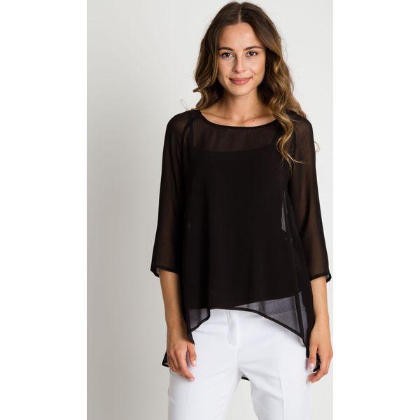 613f59bd82bf84 Szyfonowa czarna bluzka z krótkim rękawem BIALCON - Czarne bluzki ...