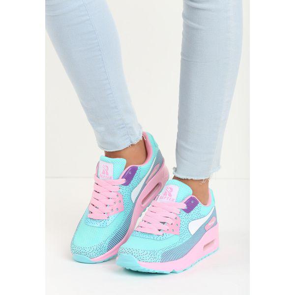 Niebieskie Pudrowe Buty Sportowe Candy