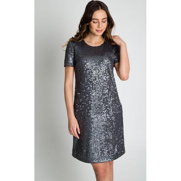 04d8f965674d Błyszcząca sukienka z krótkim rękawem BIALCON - Sukienki damskie ...
