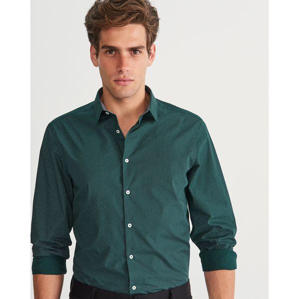 0a0f188de83d Koszula w kropki slim fit - Khaki - Brązowe koszule męskie marki ...