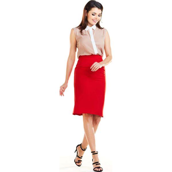 def9f512 Czerwona Dopasowana Spódnica z Ozdobnymi Plisami