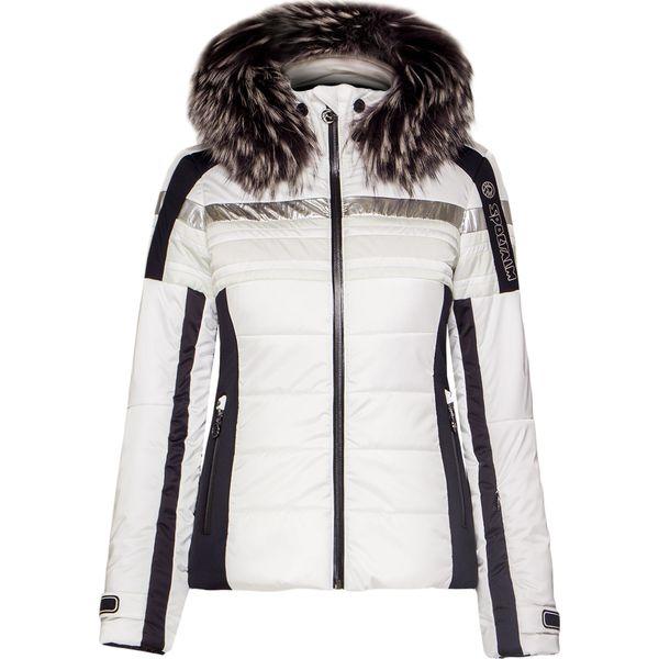 kurtka narciarska damska bialo szara