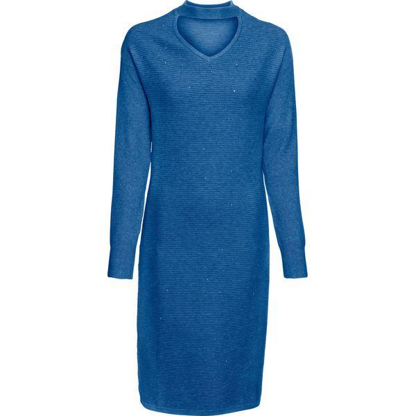 a93c11996c Sukienka dzianinowa ze stójką choker i kamieniami bonprix błękit ...