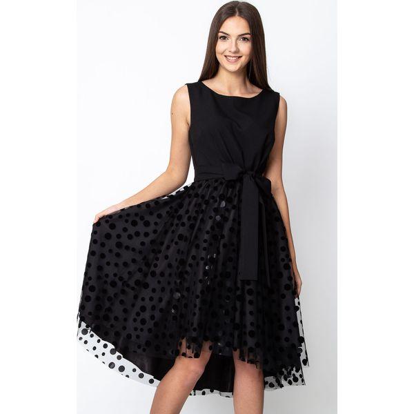 e9cdb5929d Czarna rozkloszowana sukienka z tiulowym dołem QUIOSQUE - Czarne ...