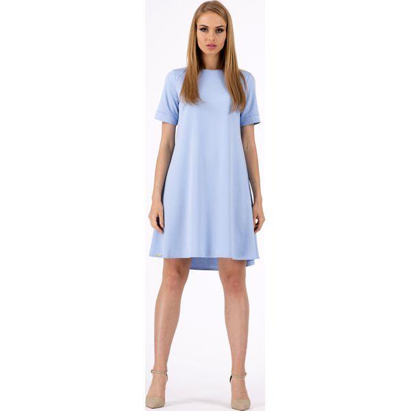 08b83d9d00 Błękitna Trapezowa Wygodna Sukienka z Krótkim Rękawem - Niebieskie ...
