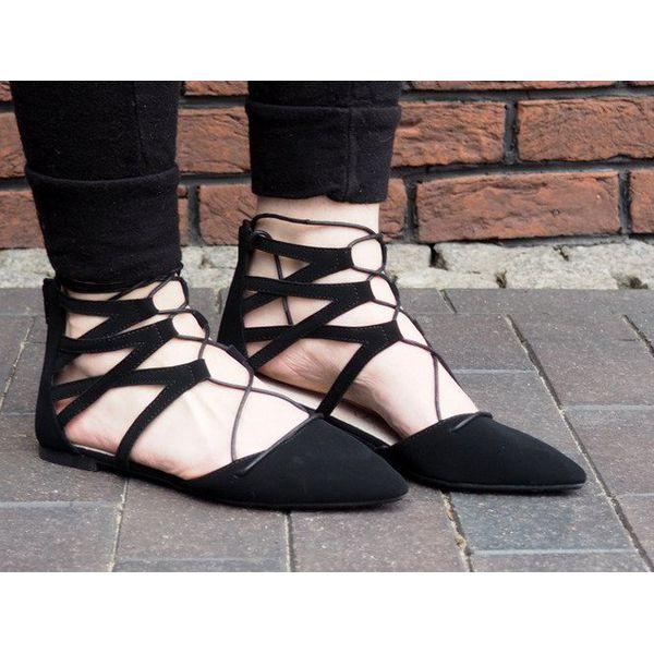 Baletki otwarte wiązane Sandały 6701 Czarny czarne