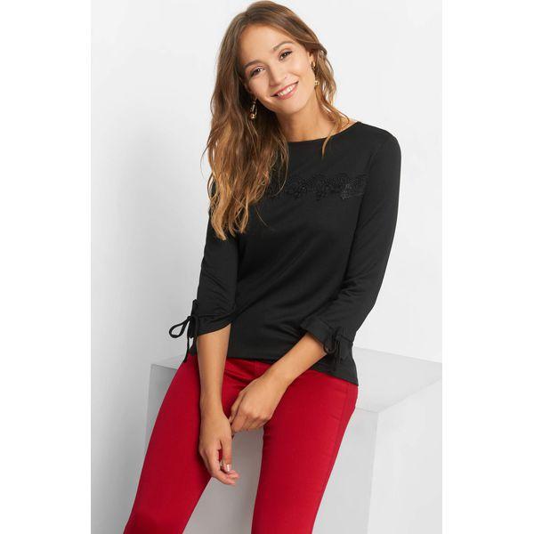 82360d1c942b15 Koszulka z koronkową wstawką - Czarne bluzki damskie marki Orsay, xs ...