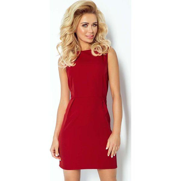 9db6c269a2 Bordowa Sukienka Klasyczna Dopasowana z Zakładkami - Czerwone ...