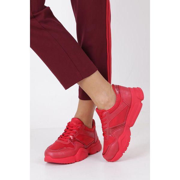 czerwone buty sportowe sneakersy sznurowane casu 7 k571c