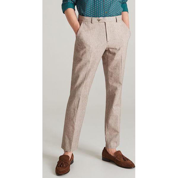 cb73f8f66c8ca Spodnie garniturowe z bawełny i lnu - Beżowy - Brązowe garnitury ...