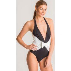 6936513a658e4c Czarno-biały jednoczęściowy strój kąpielowy Twinset U&B z kokardą. Czarne  stroje kąpielowe damskie Twinset