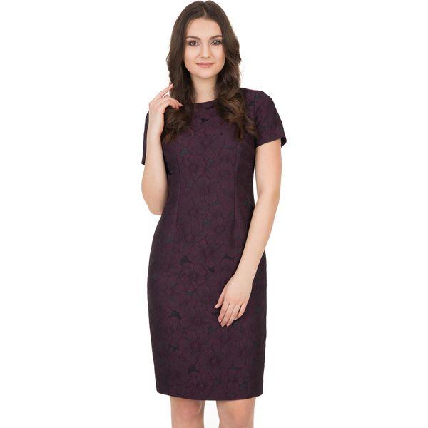 7362f79a9c Żakardowa sukienka z krótkim rękawem i podszewką BIALCON - Sukienki ...