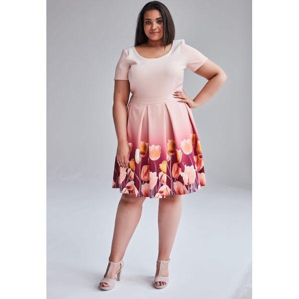 Koralowa wiosenna sukienka Gabi duże rozmiary OVERSIZE PLUS SIZE WIOSNA