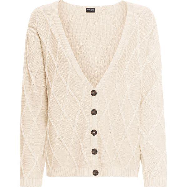 Sweter rozpinany bonprix beżowy perłowy melanż