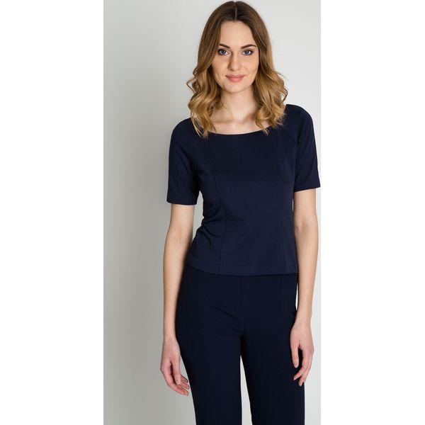 afa6b439aa Granatowa elegancka bluzka z krótkim rękawem BIALCON - Niebieskie ...