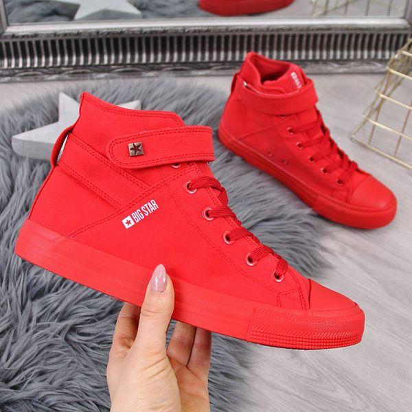 Trampki wysokie tekstylne na rzep czerwone Big Star FF274580 czerwony