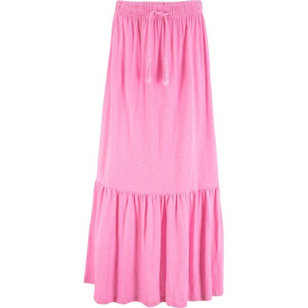 d2401214 Długa spódnica z wiązanym paskiem bonprix jasnoróżowy
