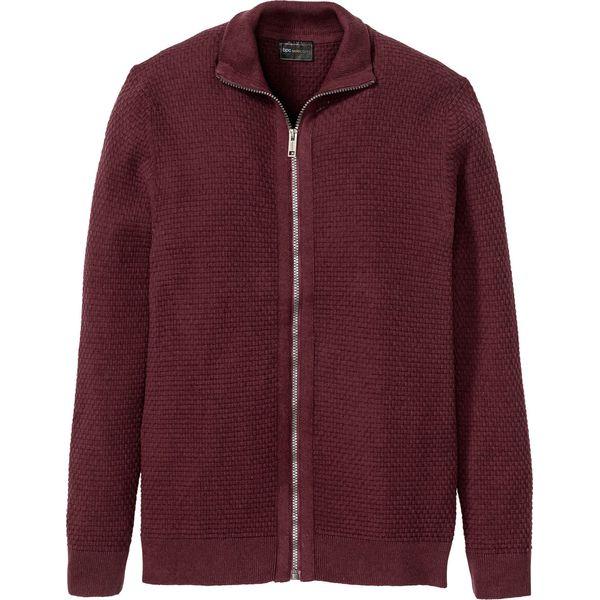 Sweter rozpinany z bawełny z recyklingu bonprix czerwony klonowy
