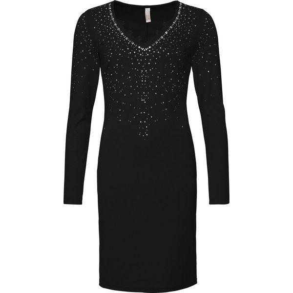 49de4339d5 Sukienka wieczorowa z połyskującymi kamieniami bonprix czarny ...