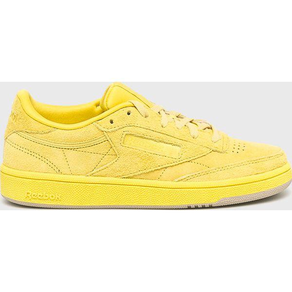 4e0c74c2455a2b Reebok - Buty Club C 85 - Żółte obuwie sportowe damskie Reebok, bez wzorów,  z materiału, bez zapięcia. W wyprzedaży za 269.90 zł.