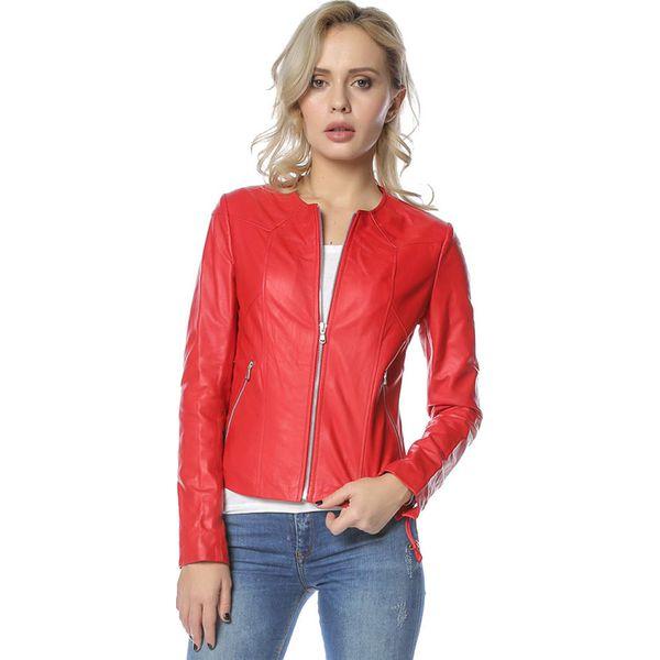 9ed7ccb6f6ae2 Skórzana kurtka w kolorze czerwonym - Czerwone kurtki damskie marki ...