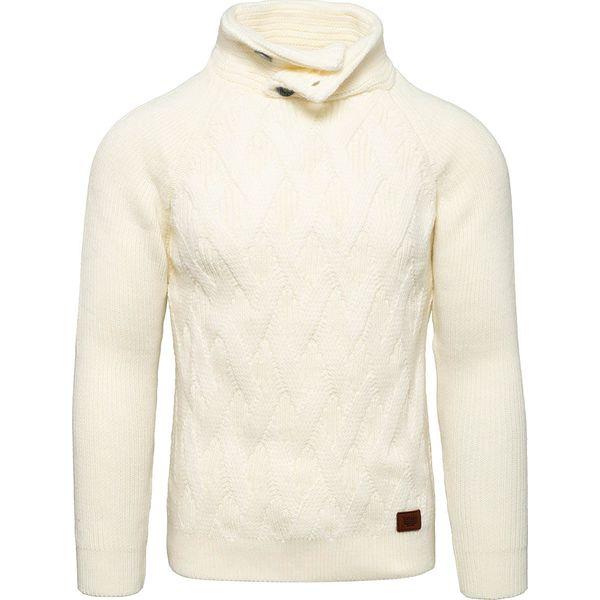 Sweter męski z kominem kremowy Recea