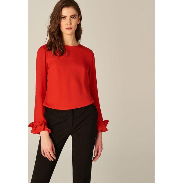 aecd51362852df Zwiewna bluzka z kokardami przy rękawach - Czerwony - Czerwone ...