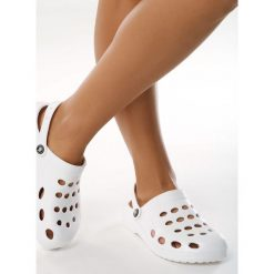 Białe obuwie damskie na obcasie, bez zapięcia Kolekcja