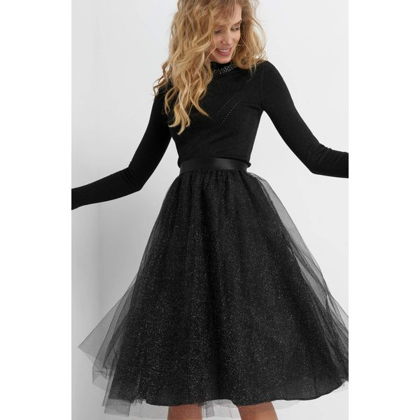 70a86aa19f5c Tiulowa spódnica z brokatem - Czarne spódnice damskie marki Orsay