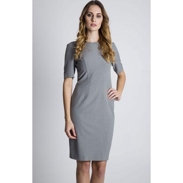 101ac1c270 Szara dopasowana sukienka z krótkim rękawem BIALCON - Sukienki ...