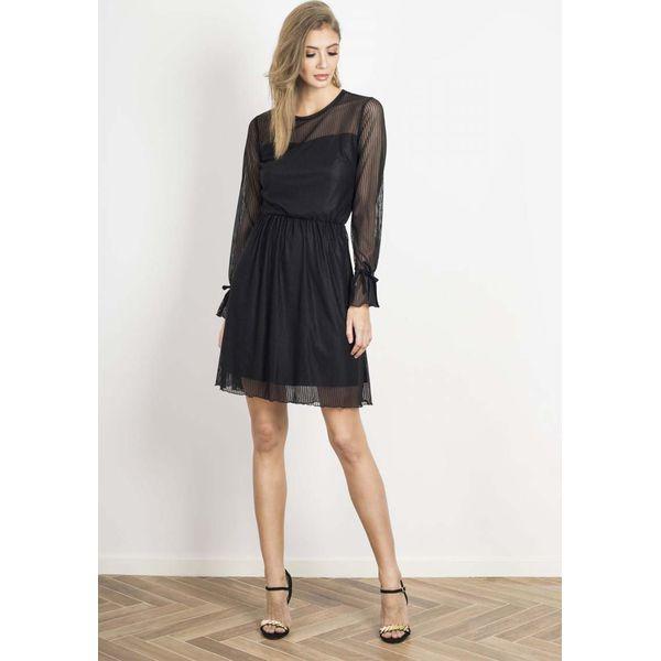 7bb0b6f0c9f717 Transparentna Rozkloszowana Czarna Sukienka - Czarne sukienki ...
