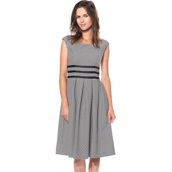 0bff52becf Czarno-biała sukienka odcięta w talii BIALCON - Białe sukienki ...