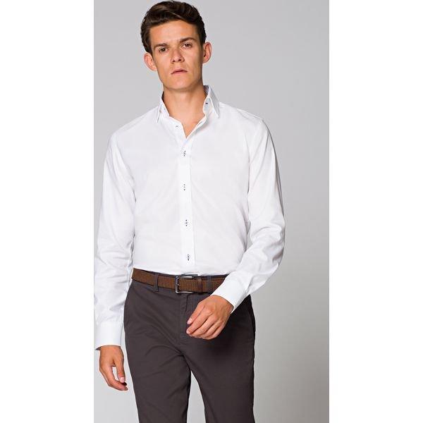 Koszula Biała Almeria 4 Białe koszule męskie LANCERTO, m  aOXaZ