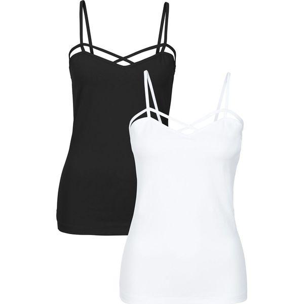 44446efec1 Top (2 szt.) bonprix czarny + biały - Białe topy damskie marki ...