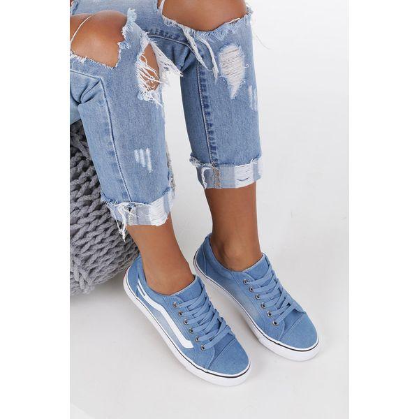 Niebieskie Trampki Jeansowe Sznurowane Casu 630