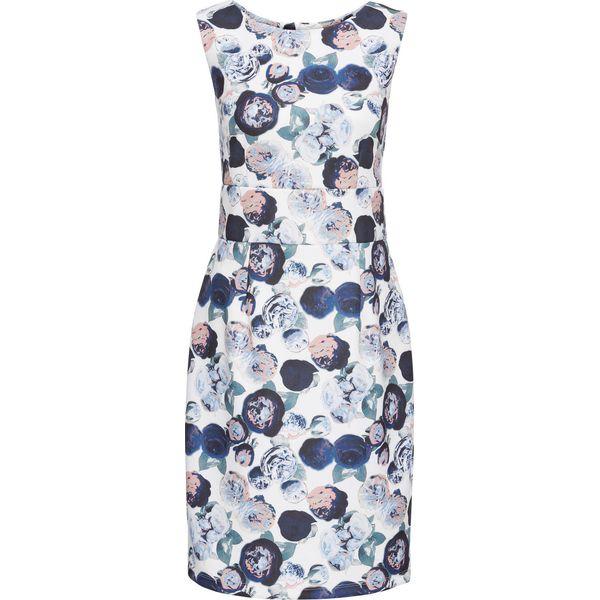 306c9c86ee Sukienka neoprenowa bonprix biel wełny w kwiaty - Sukienki damskie ...