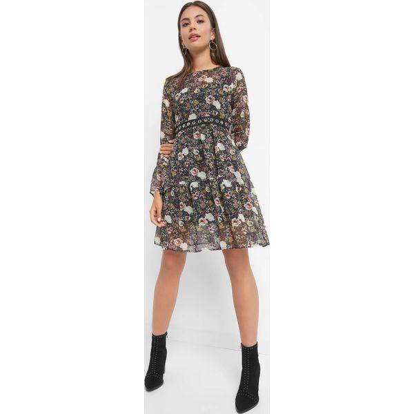 7e8109b468 Rozkloszowana sukienka w kwiaty - Zielone sukienki damskie marki ...