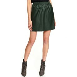 Karmelowa kobieca spódnica mini z eko skóry