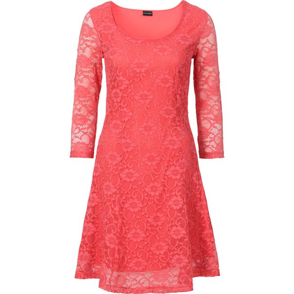 3041c4c88c Sukienka z koronką bonprix koralowy - Sukienki damskie marki bonprix ...