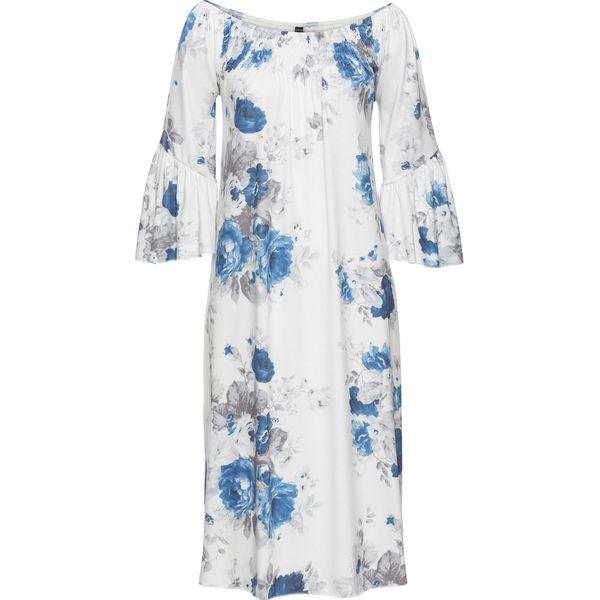 c1e77d9b Długa sukienka shirtowa bonprix biel wełny - niebieski z nadrukiem