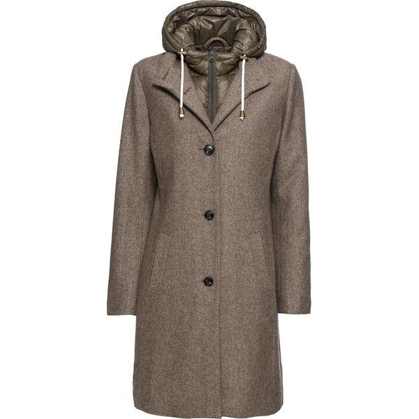 Płaszcz zimowy z domieszką wełny, z efektem 2 w 1 bonprix beżowy